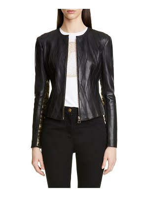 Versace Collection logo leather jacket