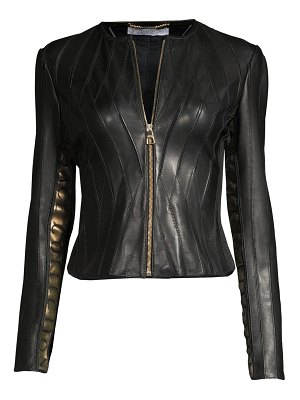 Versace Collection logo tape leather jacket