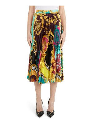 VERSACE colorblock mixed print pleated midi skirt