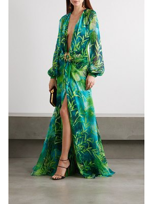 VERSACE crystal-embellished printed silk-chiffon gown