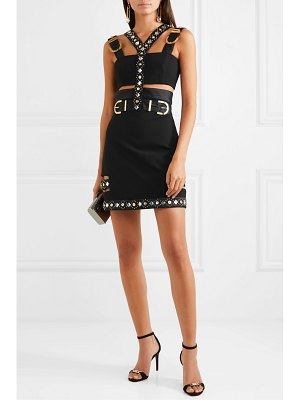 VERSACE cutout embellished satin-trimmed cady mini dress