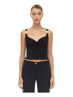 VERSACE Draped stretch jersey top