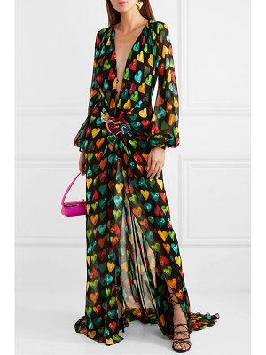 VERSACE embellished printed silk-chiffon gown