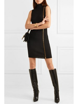 VERSACE embellished ribbed wool-blend turtleneck mini dress
