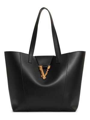 VERSACE FIRST LINE logo calfskin leather tote