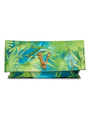 VERSACE FIRST LINE virtus jungle print leather clutch