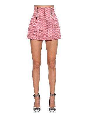 VERSACE Houndstooth stretch cotton shorts