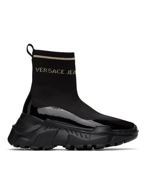 VERSACE JEANS COUTURE black and gold logo speedtrack sneakers