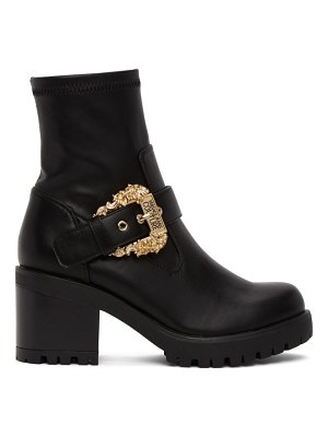 VERSACE JEANS COUTURE black baroque buckle boots