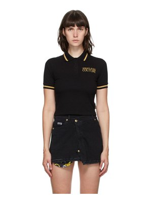 VERSACE JEANS COUTURE black crop institutional logo polo