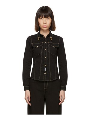 VERSACE JEANS COUTURE black denim fitted shirt