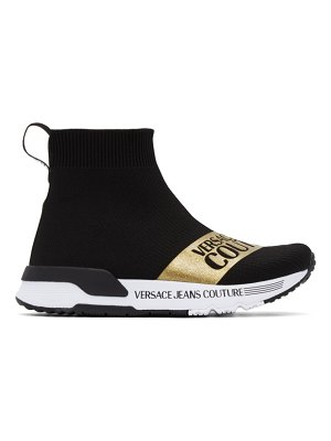 VERSACE JEANS COUTURE black dynamo institutional logo sneakers