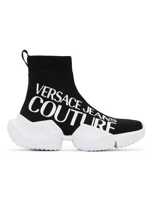 VERSACE JEANS COUTURE black fragmented sole logo sneakers