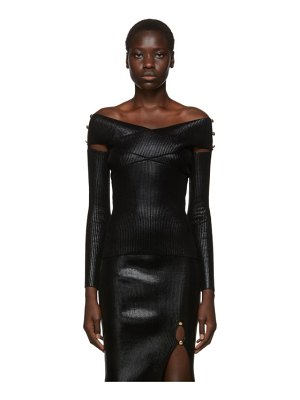 VERSACE JEANS COUTURE black lame off-the-shoulder sweater