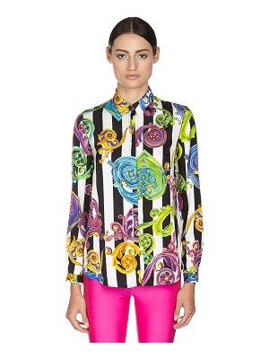 VERSACE JEANS COUTURE Printed button down viscose twill shirt