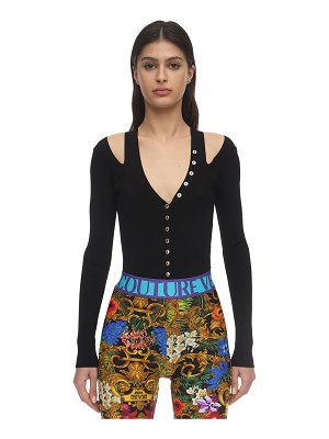 VERSACE JEANS COUTURE Viscose blend rib knit top