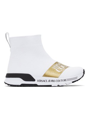 VERSACE JEANS COUTURE white dynamo institutional logo sneakers