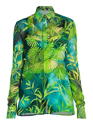 VERSACE jungle-print silk button down shirt