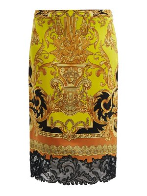 VERSACE lace trimmed baroque print silk pencil skirt