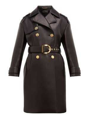 VERSACE leather-coated neoprene padded trench coat