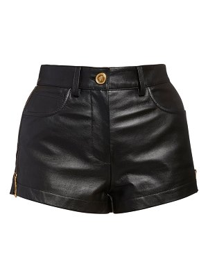 VERSACE Leather mini shorts