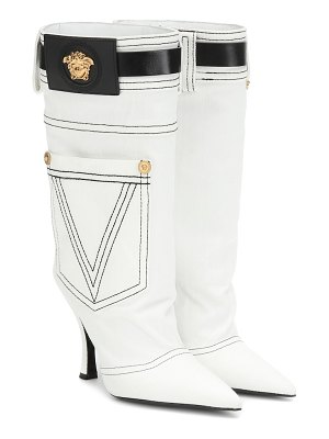 VERSACE leather-trimmed denim boots