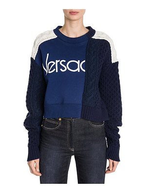 VERSACE long-sleeve colorblock cable knit logo sweater