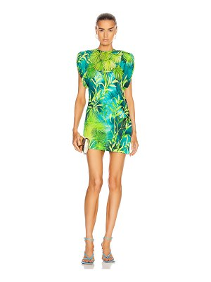 VERSACE mini ruched sleeve palm dress