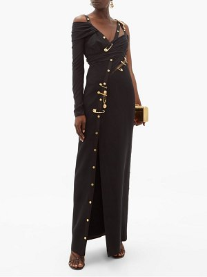 VERSACE one sleeve safety pin crepe gown
