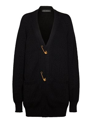 VERSACE oversized safety pin wool cardigan