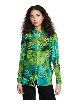VERSACE palm print long sleeve blouse