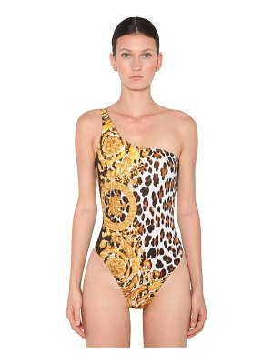 VERSACE Printed lycra one shoulder swimsuit