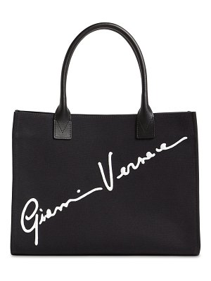 VERSACE Signature embroidery canvas tote bag