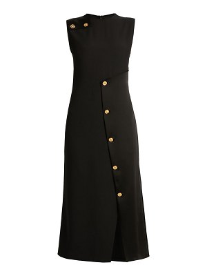 VERSACE sleeveless satin button cocktail dress
