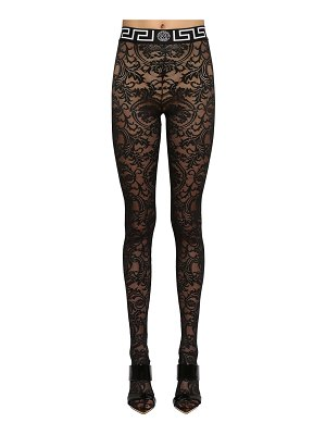 VERSACE Stretch lace footed leggings