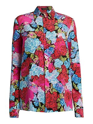 VERSACE tie-dye rose print button-down silk shirt