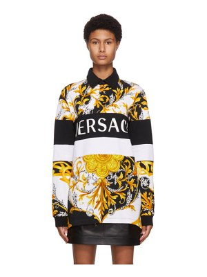 VERSACE white and gold acanthus long sleeve polo