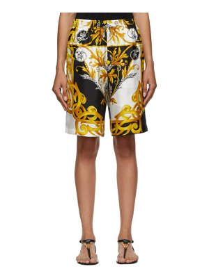 VERSACE white and gold barocco shorts