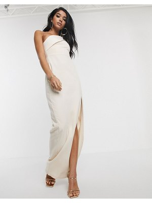 Vesper one shoulder maxi dress with thigh split in stone-gray