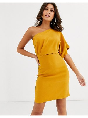Vesper one shoulder mini dress with cut out and tie detail in ochre-yellow