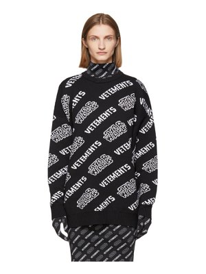 VETEMENTS black and white star wars edition all over logo sweater