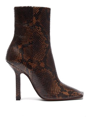 VETEMENTS boomerang python effect leather ankle boots