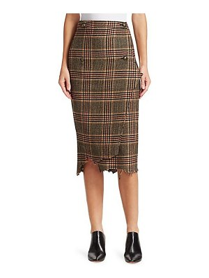VETEMENTS check & plaid wool handkerchief wrap pencil skirt