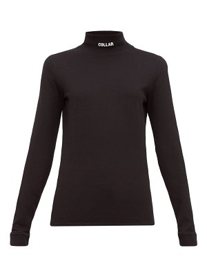 VETEMENTS collar embroidered cotton jersey top
