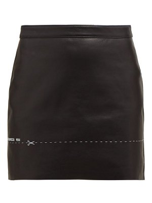 VETEMENTS embroidered leather mini skirt