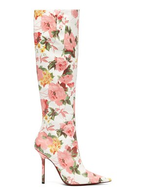 VETEMENTS floral-print leather knee-high boots