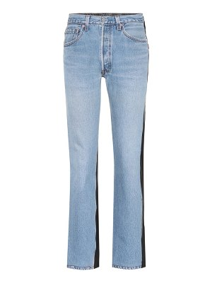 VETEMENTS Leather and denim jeans