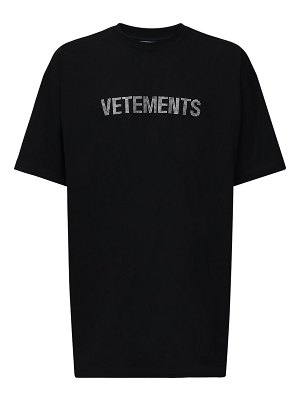 VETEMENTS Over crystal logo print cotton t-shirt