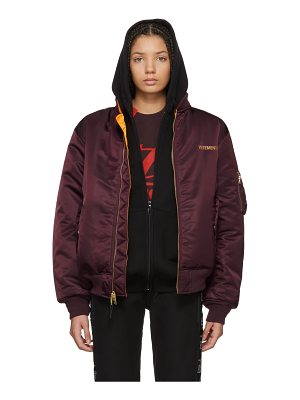 VETEMENTS Red Alpha Industries Edition Logo Bomber Jacket