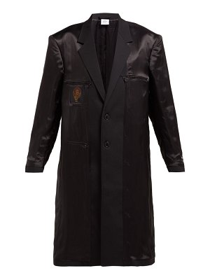 VETEMENTS reversed single breasted satin and wool coat